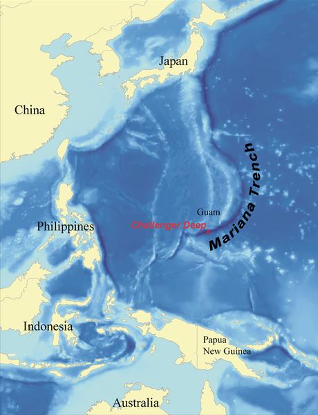 Mariánský příkop - mapa